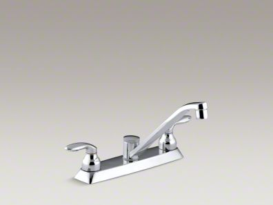 "Kohler Coralais® Three-hole kitchen sink faucet with 7-5/8"" spout and lever handles K-15251-4-CP"