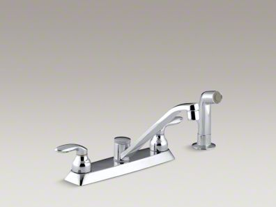 "Kohler Coralais® Three-hole kitchen sink faucet with 7-5/8"" spout, matching finish sidespray and lever handles K-15253-4-CP"