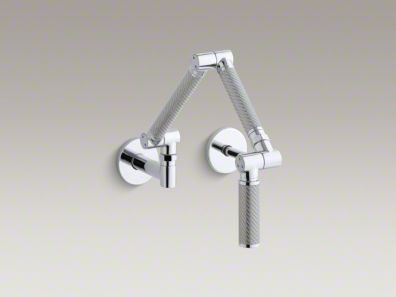 "Kohler Karbon® Articulating two-hole wall-mount kitchen sink faucet with 13-1/4"" spout with Silver tube K-6228-C11"