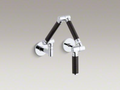 """Kohler Karbon® Articulating two-hole wall-mount kitchen sink faucet with 13-1/4"""" spout with Black tube K-6228-C12"""