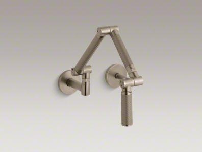 Kohler Karbon Articulating Two Hole Wall Mount Kitchen Sink Faucet