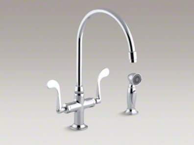 "Kohler Essex® Single-hole kitchen sink faucet with 9"" gooseneck spout and accent sidespray K-8763"