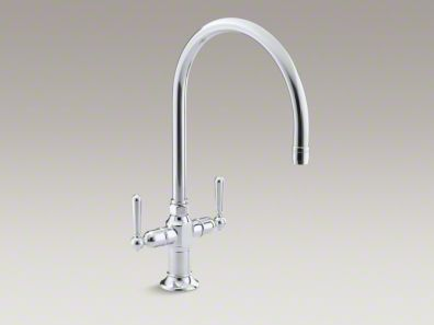 "Kohler HiRise Single-hole kitchen sink faucet with 10"" gooseneck spout and lever handles K-7341-4"
