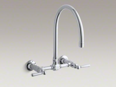 "Kohler HiRise Two-hole wall-mount bridge kitchen sink faucet with 13-7/8"" gooseneck spout and lever handles K-7338-4"