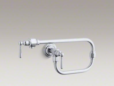 """Kohler HiRise Single-hole wall-mount pot filler kitchen sink faucet with 24"""" extended spout and lever handle K-7322-4"""