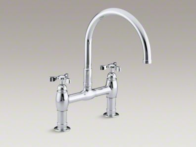 "Kohler Parq® Two-hole deck-mount kitchen sink faucet with 9"" gooseneck spout and tri handles K-6130-3"
