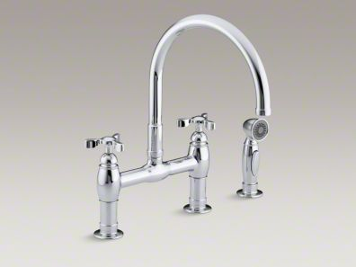 "Kohler Parq® Two-hole deck-mount bridge kitchen sink faucet with 9"" gooseneck, matching finish sidespray and tri handles K-6131-3"