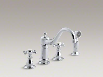 "Kohler Antique Three-hole kitchen sink faucet with 8-5/8"" spout, sidespray and 6-prong handles K-158-3"