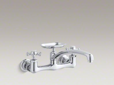 "Kohler Antique Two-hole wall-mount kitchen sink faucet with 12"" spout, soap dish and 6-prong handles K-159-3"