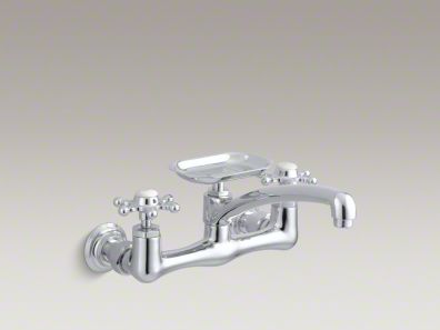 "Kohler Antique Two-hole wall-mount kitchen sink faucet with 8"" spout, soap dish and 6-prong handles K-149-3"