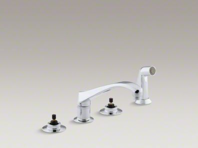 "Kohler Triton® 4-hole widespread kitchen sink faucet with 8-1/8"" spout and matching finish sidespray, requires handles K-7765-K-CP"