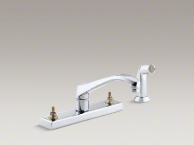 "Kohler Triton® 4-hole kitchen sink faucet with 8-1/8"" spout and matching finish sidespray, requires handles. K-7827-K-CP"