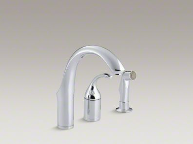 Kohler Forté® Three-hole remote valve kitchen sink faucet with sidespray K-10441