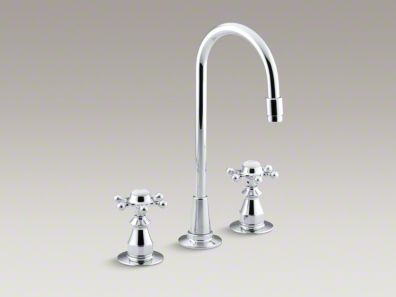 Kohler Antique Three-hole bar sink faucet with 6-prong handles K-118-3