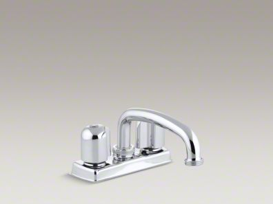 Kohler Trend® Laundry tray faucet with threaded swing spout and metal blade handles K-11935-U-CP