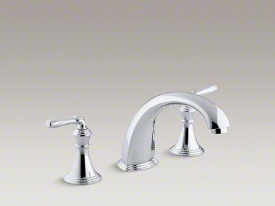 """Kohler Devonshire® deck-/rim-mount bath faucet trim for high-flow valve with 9"""" non-diverter spout and lever handles, valve not included K-T398-4"""