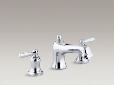 Kohler Bancroft® bath faucet trim for deck-mount high-flow valve with non-diverter spout and metal lever handles, valve not included K-T10585-4