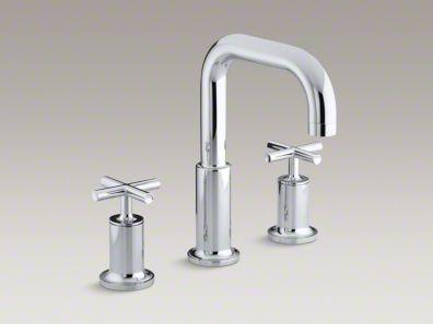 Kohler  Purist® deck-mount bath faucet trim for high-flow valve with cross handles, valve not included K-T14428-3