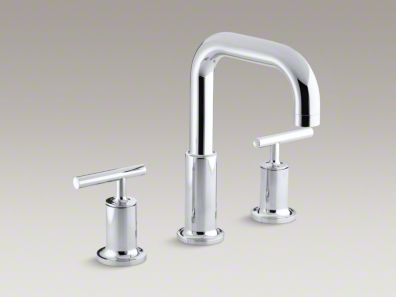 Kohler  Purist® deck-mount bath faucet trim for high-flow valve with lever handles, valve not included K-T14428-4