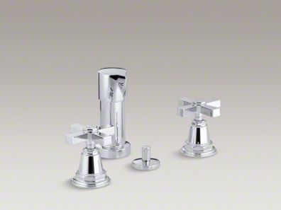 Kohler  Pinstripe® Pure vertical spray bidet faucet with cross handles K-13142-3A