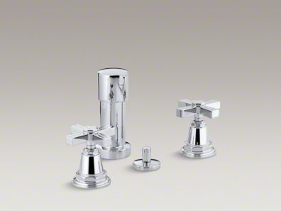 Kohler  Pinstripe® Vertical spray bidet faucet with cross handles K-13142-3B