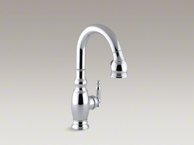 "Kohler Vinnata® Single-hole or three-hole kitchen sink faucet with pull-down 15-1/8"" spout and lever handle  K-691"