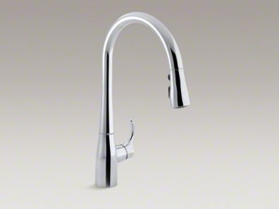 "Kohler Simplice® Single-hole or three-hole kitchen sink faucet with 16-5/8"" pull-down spout K-596"