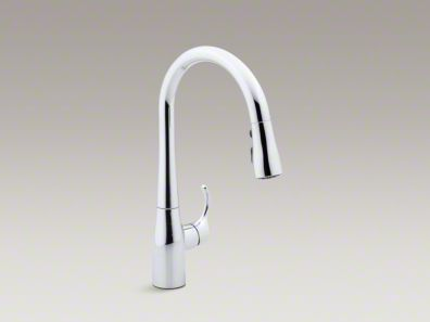 "Kohler Simplice® Single-hole or three-hole kitchen sink faucet with 15-3/8"" pull-down spout K-597"