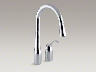 "Kohler Simplice® Two-hole kitchen sink faucet with 16-1/8"" pull-down swing spout K-647"