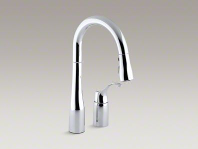 "Kohler Simplice® Two-hole kitchen sink faucet with 14-3/4"" pull-down swing spout K-649"