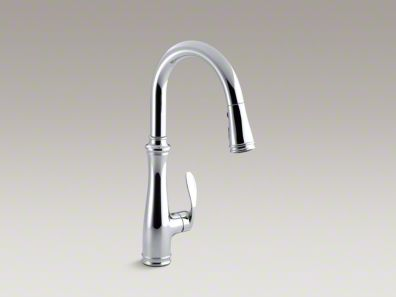 "Kohler Bellera® Single-hole or three-hole kitchen sink faucet with pull-down 7-7/8"" spout and right-hand lever handle K-560"
