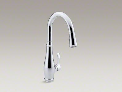 "Kohler Cruette® Single-hole or three-hole kitchen sink faucet with pull-down 7-7/8"" spout and lever handle K-780"