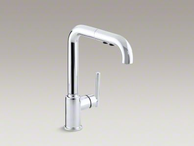 "Kohler Purist® Single-hole kitchen sink faucet with 8"" pullout spout  K-7505"