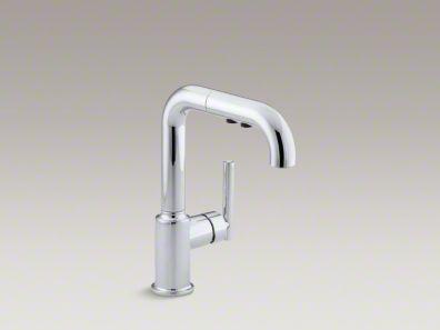 """Kohler Purist® Single-hole kitchen sink faucet with 7"""" pullout spout K-7506"""