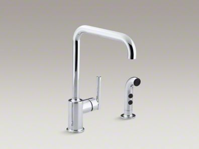 "Kohler Purist® Two-hole kitchen sink faucet with 8"" spout and matching finish sidespray K-7508"