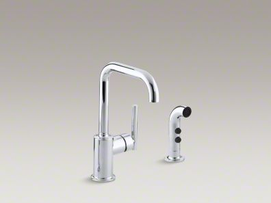"Kohler Purist® Two-hole kitchen sink faucet with 6"" spout and matching finish sidespray K-7511"