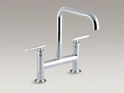 "Kohler Purist® Two-hole deck-mount bridge bridge kitchen sink faucet with 8-3/8"" spout K-7547-4"