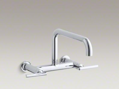 "Kohler Purist® Two-hole wall-mount bridge kitchen sink faucet with 13-7/8"" spout K-7549-4"