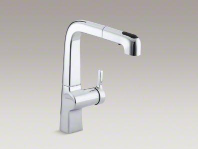 "Kohler Evoke® Single-hole kitchen sink faucet with 9"" pullout spout K-6331"