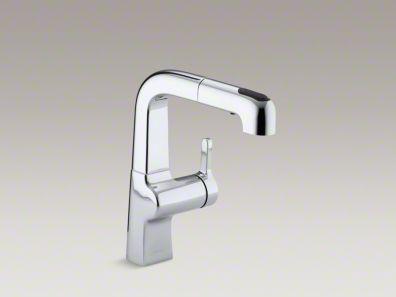 "Kohler Evoke® Single-hole kitchen sink faucet with 8"" pullout spout K-6332"