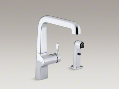 "Kohler Evoke® Single-hole kitchen sink faucet with 9"" spout, matching finish sidespray K-6334"