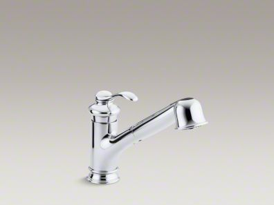 "Kohler Fairfax® Single-hole or three-hole kitchen sink faucet with 9"" pullout spout K-12177"