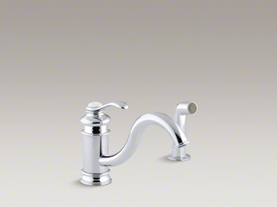 "Kohler Fairfax® Single-hole kitchen sink faucet with 9"" spout, matching finish sidespray K-12176"