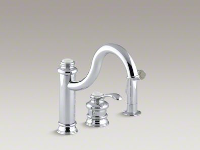 "Kohler Fairfax® Three-hole remote valve kitchen sink faucet with 9-3/8"" spout and matching finish sidespray K-12185"