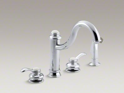 "Kohler Fairfax® 4-hole kitchen sink faucet with 9-3/8"" spout, matching finish sidespray K-12231"