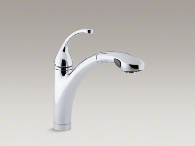"Kohler Forté® Single-hole or 3-hole kitchen sink faucet with 10-1/8"" pullout spray spout K-10433"