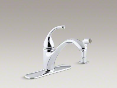 "Kohler Forté® 4-Hole kitchen sink faucet with 9-1/16"" spout, matching finish sidespray K-10412"
