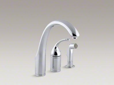 "Kohler Forté® 4-Hole kitchen sink faucet with 7-3/4"" spout, matching finish sidespray K-10445"