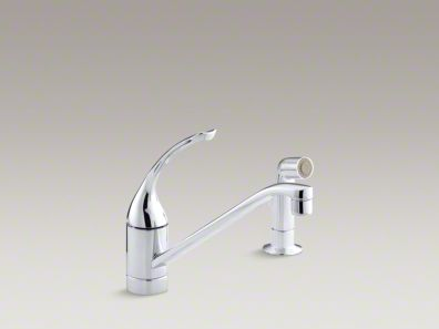 "Kohler Coralais® Two-hole kitchen sink faucet with 10"" spout, matching finish side-spray and loop handle K-15176-FL"
