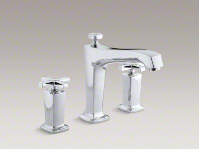 Kohler Margaux® deck-mount bath faucet trim for high-flow valve with non-diverter spout and cross handles, valve not included K-T16237-3